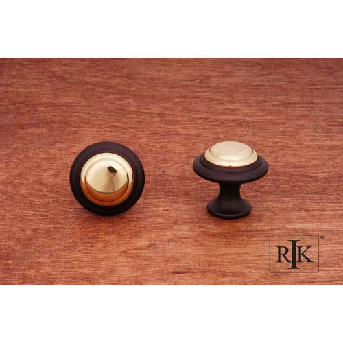 RK International Inc Oil Rubbed and Brass Step Up Knob with Brass Middle