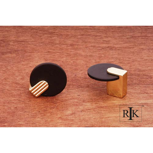 RK International Inc Oil Rubbed and Brass Round Knob with Brass Stem