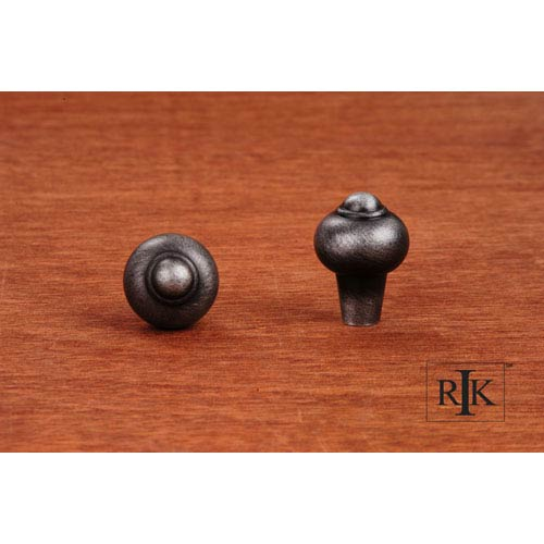 Distressed Nickel Solid Round Knob with Tip