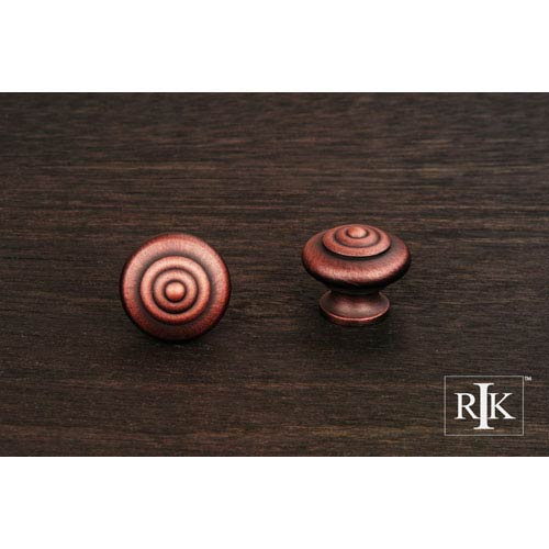 RK International Inc Distressed Copper Solid Knob with Circle at Top