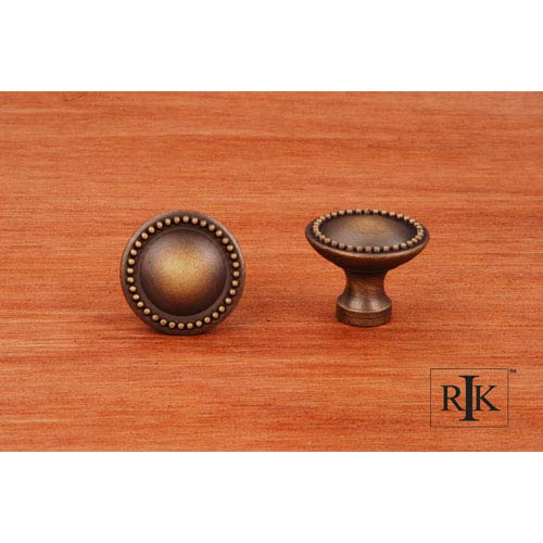 RK International Inc Antique English Plain Knob with Beaded Edge