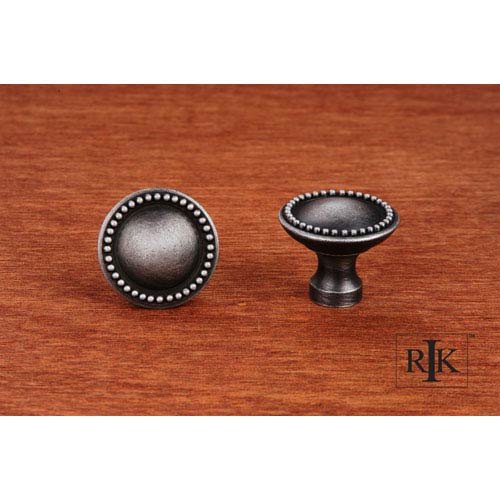 Distressed Nickel Plain Knob with Beaded Edge