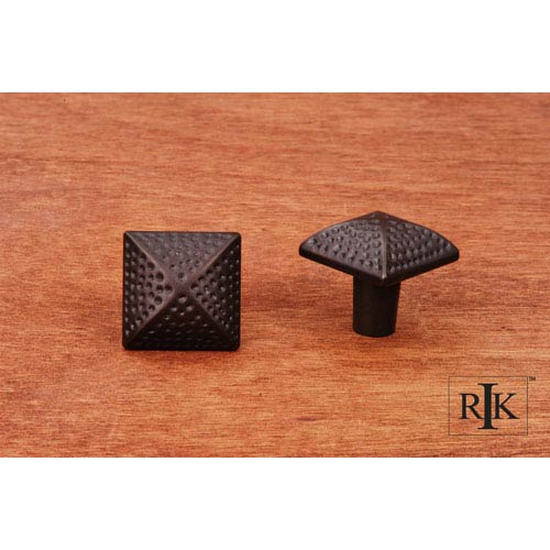 RK International Inc Oil Rubbed Bronze Square Knob with Divet Indents