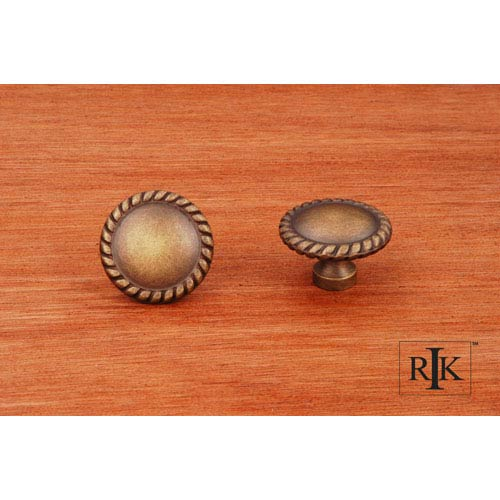RK International Inc Antique English Plain Knob with Rope at Edge