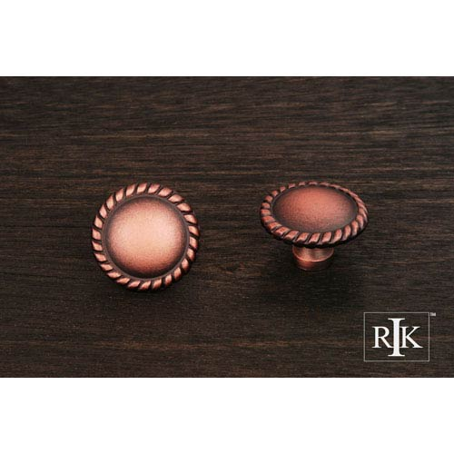 RK International Inc Distressed Copper Plain Knob with Rope at Edge