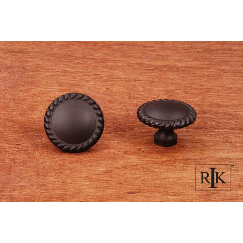 RK International Inc Oil Rubbed Bronze Plain Knob with Rope at Edge