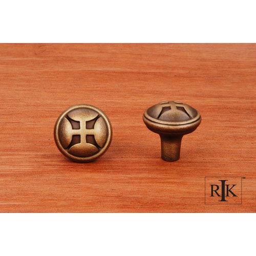 RK International Inc Antique English Solid Four Petal Knob