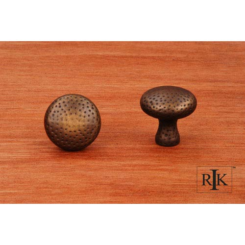 RK International Inc Antique English Solid Round Knob with Divet Indents