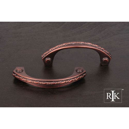 RK International Inc Distressed Copper Deco-Leaf Bow Pull