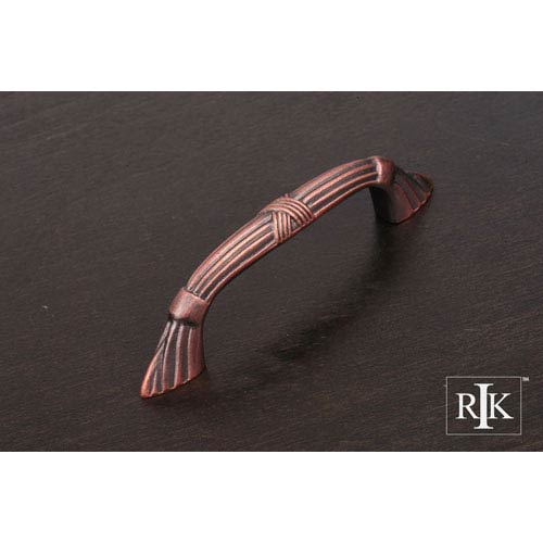 RK International Inc Distressed Copper Ornate Bow Pull with Lines and Crosses