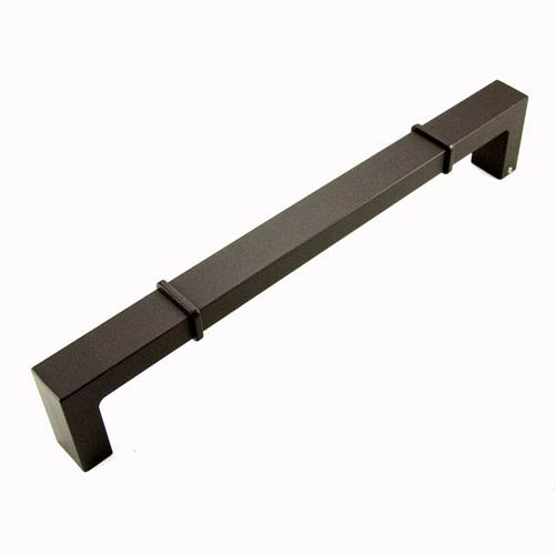 RK International Inc Newbury Oil Rubbed Bronze 12 inch Center to Center Rectangular w/ Lines at Edges Door Pull