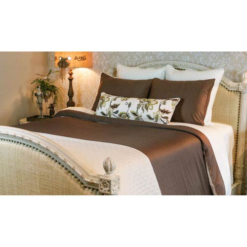 Mocha and Ivory Rayon from Bamboo Reversible Twin Duvet Cover
