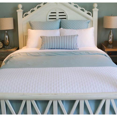 White and Sky Rayon from Bamboo Reversible Twin Duvet Cover