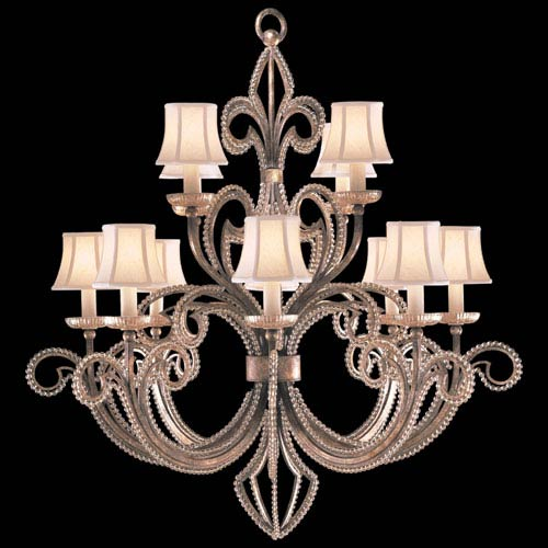 Fine Art Lamps A Midsummers Nights Dream 12-Light Chandelier in Cool Moonlit Patina Finish with Hand Sewn, Silk Shantung