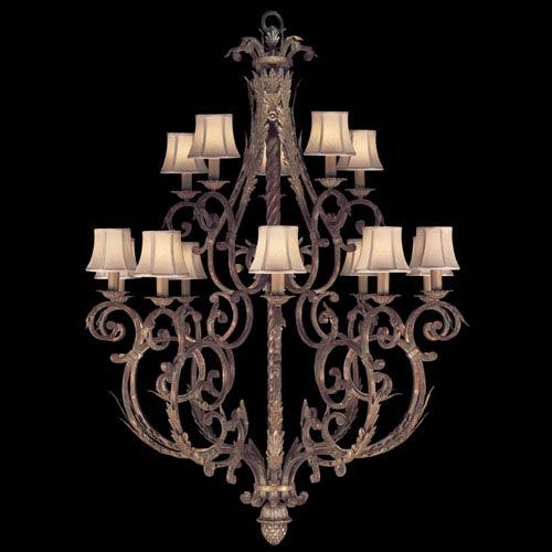 Fine Art Lamps Stile Bellagio 15-Light Chandelier in Tortoised Leather Crackle Finish