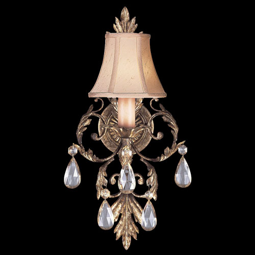 A Midsummers Nights Dream Wall Sconce in Cool Moonlit Patina Finish with Hand-sewn, silk shantung shade