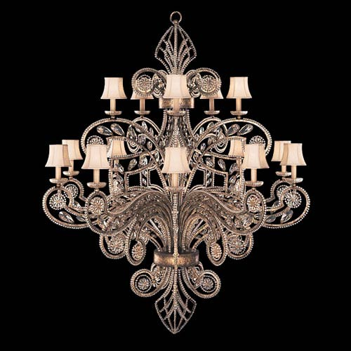 A Midsummers Nights Dream 15-Light Chandelier in Cool Moonlit Patina Finish