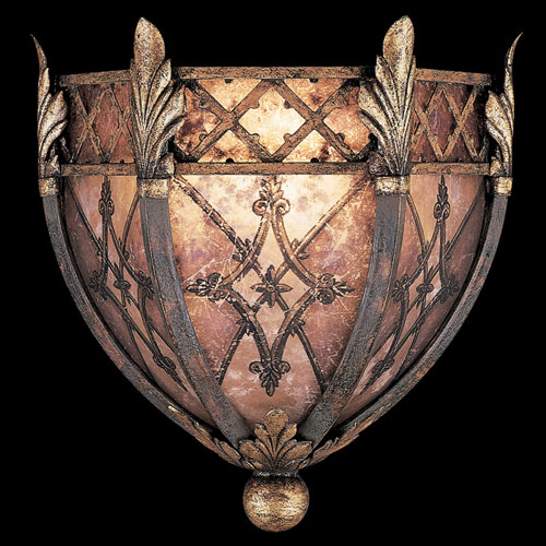 Villa 1919 One-Light Coupe Wall Sconce in Rich Umber Finish and Gilded Accents with Fleuron and Diamond Designs