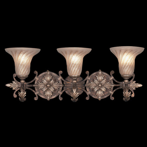 Stile Bellagio Three-Light Wall Sconce in Tortoised Leather Crackle Finish