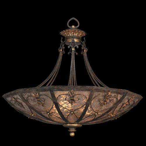 Villa 1919 Three-Light Pendant in Rich Umber Finish and Gilded Accents with Hand Fashioned Mica Coupe