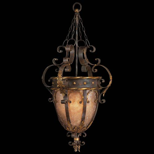 Fine Art Lamps Castile Three-Light Pendant in Antiqued Iron and Warm Gold Leaf Finish with Features Mica Panels