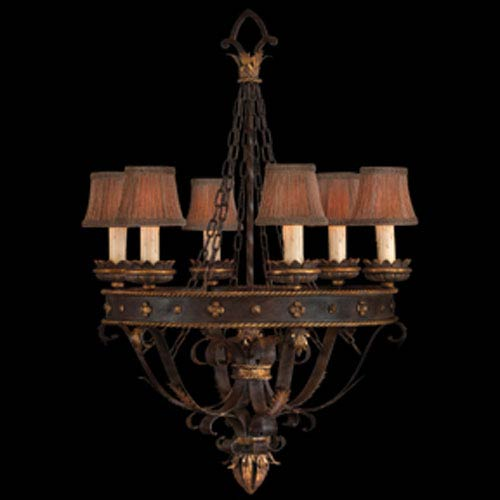 Castile Six-Light Chandelier in Gold Leaf Finish