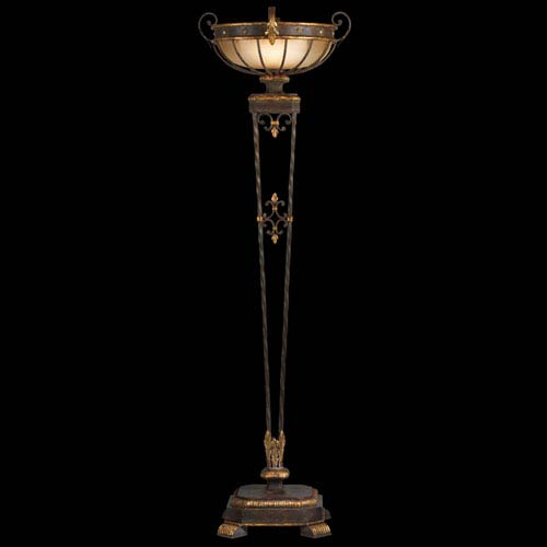 Fine Art Lamps Castile One-Light Torchiere in Antiqued Iron and Gold Leaf Finish