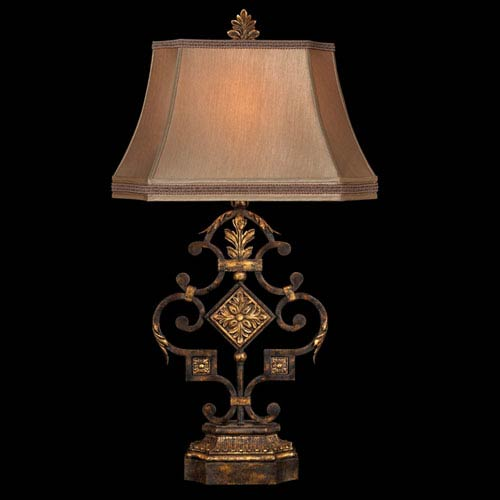 Castile One-Light Table Lamp in Antiqued Iron and Warm Gold Leaf Finish