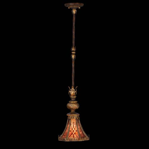 Fine Art Lamps Villa 1919 One-Light Drop-Light Pendant in Rich Umber Finish and Gilded Accents with Natural Mica Shade