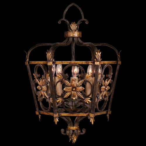Fine Art Lamps Castile Five-Light Pendant in Antiqued Steel Finish