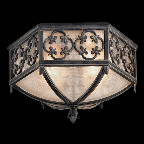 Fine Art Lamps Costa Del Sol Two-Light Outdoor Flush Mount in Wrought Iron Finish