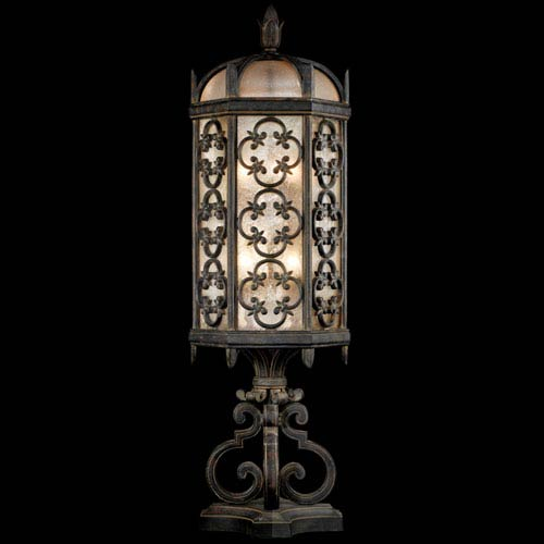 Fine Art Lamps Costa Del Sol Three-Light Outdoor Pier Mount in Wrought Iron Finish