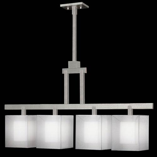 Quadralli Four-Light Island Pendant in Silver Leafed Finish with Shimmering Screen of Platinum Organza