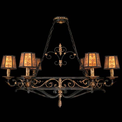 Fine Art Lamps Epicurean Six-Light Chandelier in Charred Iron Finish with Features Hand Decorated Shades of Mica and