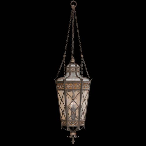 Chateau Outdoor Four-Light Outdoor Lantern in Variegated Rich Umber Patina Finish