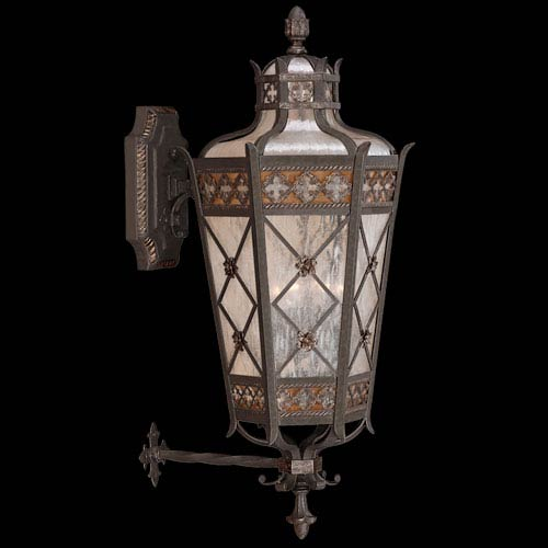 Fine Art Lamps Chateau Outdoor Four-Light Large Outdoor Wall Mount in Variegated Rich Umber Patina Finish with Gold Accents