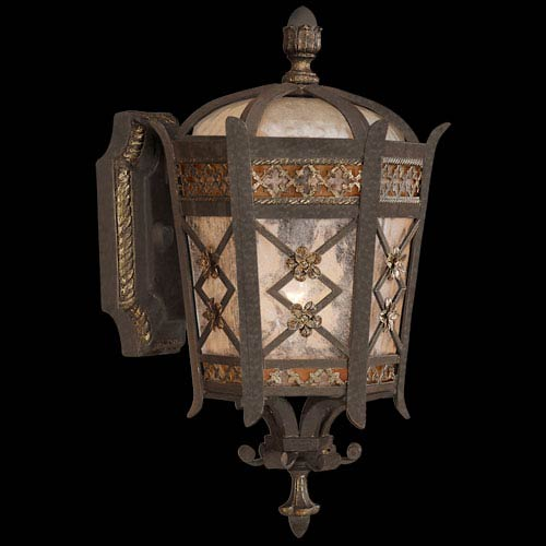 Chateau Outdoor One-Light Extra Small Outdoor Wall Mount in Variegated Rich Umber Patina Finsh with Gold Accents and Antiqued