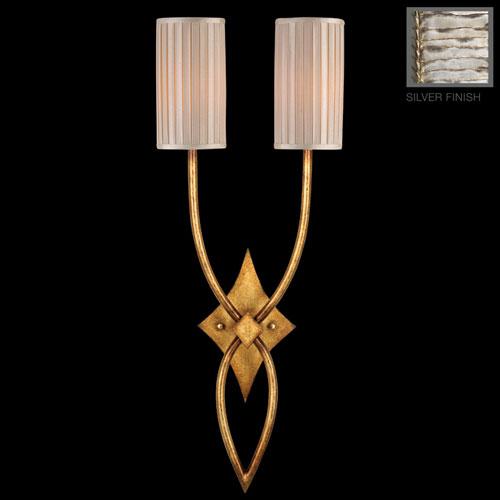 Fine Art Lamps Portobello Road Two-Light Wall Sconce in Platinized Silver Finish