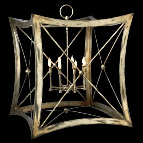 Fine Art Lamps Portobello Road Eight-Light Pendant in Platinized Silver Finish