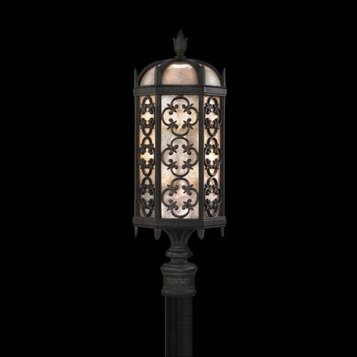 Fine Art Lamps Costa Del Sol Three-Light Outdoor Post Mount in Wrought Iron Finish