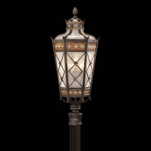 Fine Art Lamps Chateau Outdoor Five-Light Outdoor Post Mount in Variegated Rich Umber Patina Finish