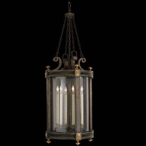 Beekman Place Five-Light Outdoor Lantern in Woodland Brown Finish and Gold Highlights