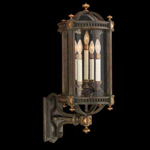 Fine Art Lamps Beekman Place Five-Light Outdoor Wall Mount in Woodland Brown Finish and Gold Highlights