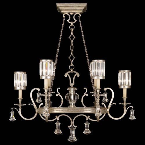Fine Art Lamps Eaton Place Silver Six-Light Chandelier in Warm Muted Silver Leaf Finish