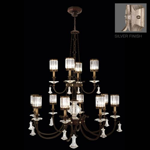 Eaton Place Silver 12-Light Chandelier in Warm Muted Silver Leaf Finish