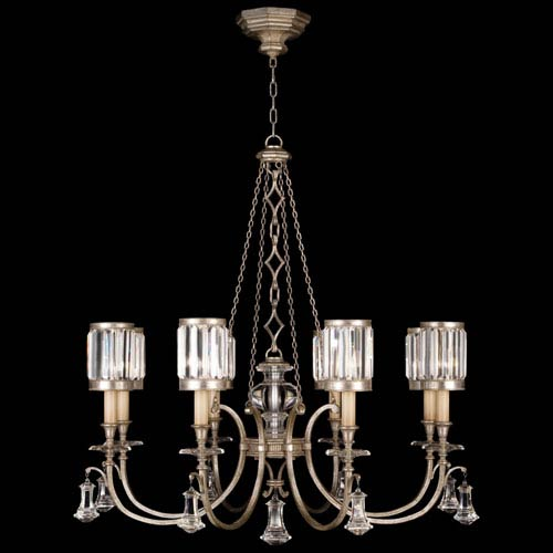 Fine Art Lamps Eaton Place Silver Eight-Light Chandelier in Warm Muted Silver Leaf Finish