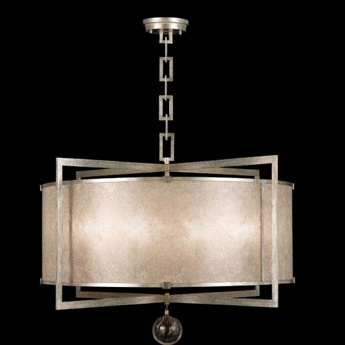 Fine Art Lamps Singapore Moderne Silver Eight Light Pendant In Warm Muted Leaf Finish