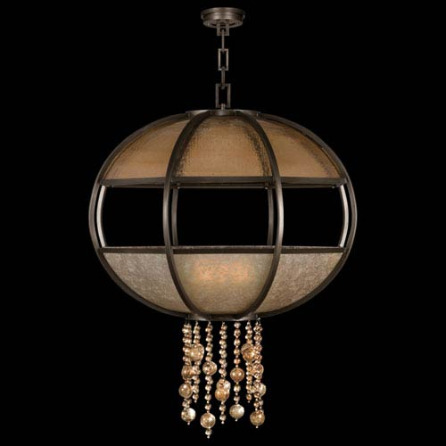 Fine Art Lamps Singapore Moderne Eight-Light Pendant in Brown Patinated Bronze Finish
