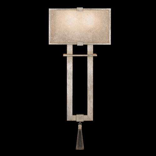 Fine Art Lamps Singapore Moderne Silver Two-Light Wall Sconce in Warm Muted Silver Leaf Finish with Warm Translucent Mica
