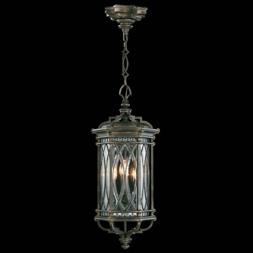 Fine Art Lamps Warwickshire Four-Light Outdoor Lantern in Wrought Iron Patina Finish
